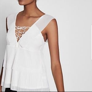 Express tiered lace up front blouse